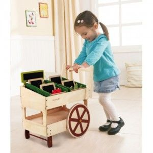 EverEarth - Organic Fruit & Veg Cart: The 2-tiered cart comes with a variety of fruits, storage bins, and blackboards, and the lower shelf provides extra storage space for even more fun cargo. Kid-sized with big sturdy wheels makes it easy for kids to push the cart from place to place. #alltotstreasures #EverEarth #organicfruit&vegcart #woodentoys #cart #pretendplay #fruit #vegetables