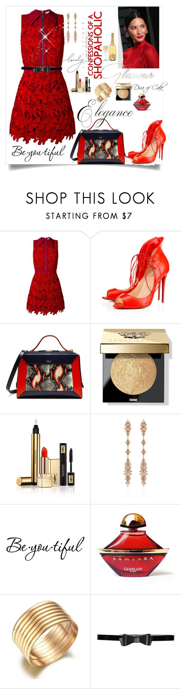 """Untitled #298"" by kercey ❤ liked on Polyvore featuring Alice + Olivia, Christian Louboutin, Mulberry, Bobbi Brown Cosmetics, Yves Saint Laurent, Fernando Jorge, Schone and Guerlain"