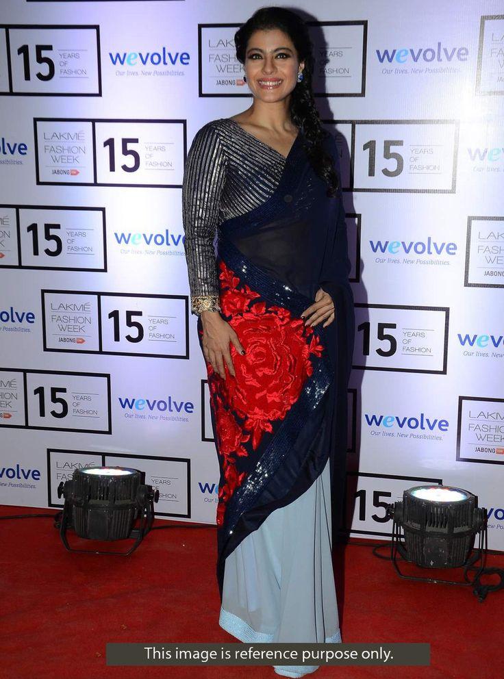 Kajol Georgette & Chiffon Machine Work Blue Bollywood Designer Saree - 1177 In Stock: Rs 1,899