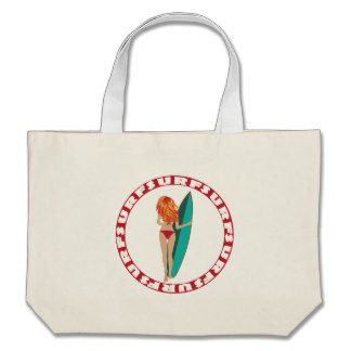 Back View of a Surfer Girl Large Tote Bag