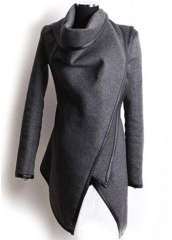 Grey Wool  Asymmetric Coat