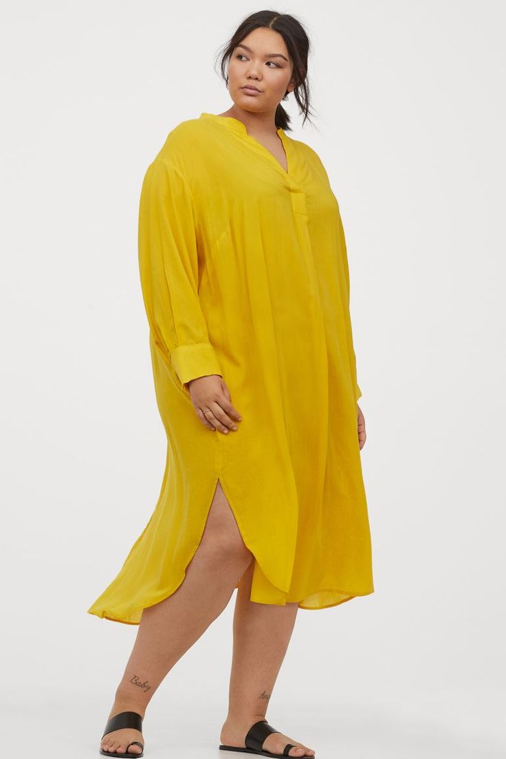 H&M+ Lyocell-blend Dress - Yellow - | H&M US in 2020 ...