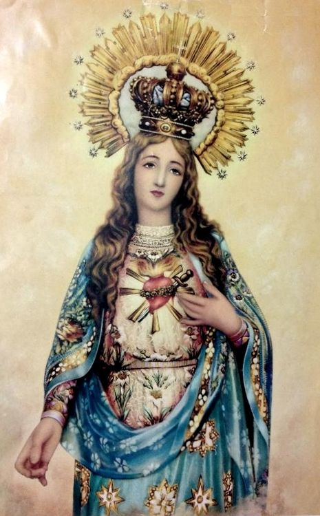 allaboutmary: Corazón de María A Spanish lithograph of the Immaculate Heart of Mary.