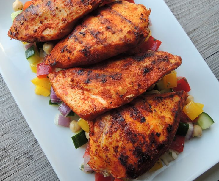 Smoked Paprika Chicken Breasts with Mediterranean Chopped Salad #dudediet #beachbodyblitz