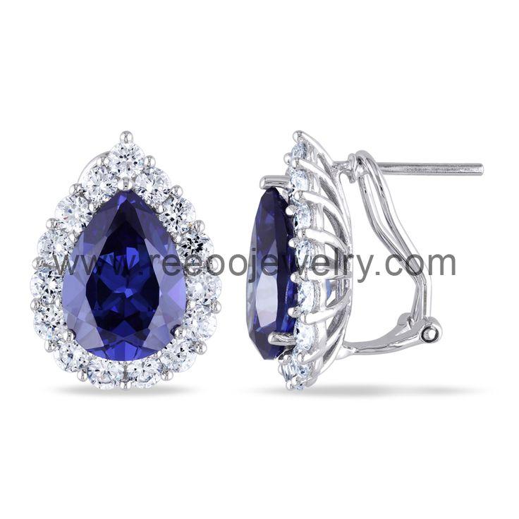 Blue CZ Stone 925 silver jewelry earring E059 www.reeoojewelry.com