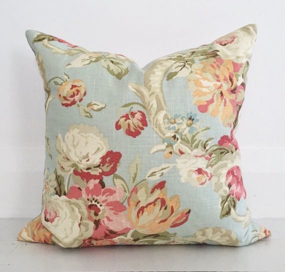 Spring roses linen cushion cover - designer cushion 50 x 50 cm - FREE SHIPPING Australia wide. This lady makes beautiful cushions. She can send samples too.  For the Guest room 2 of these is probably all you need but you can get velvet ones in toning shades