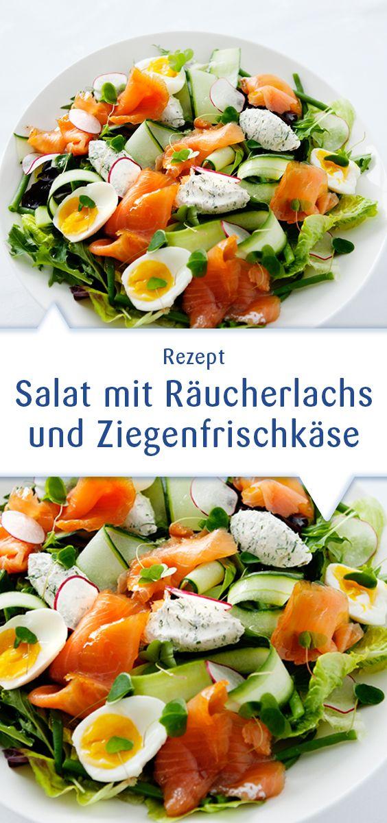Leckerer Salat mit Räuchlachs und Ziegenfrischkäse, super schnell gemacht und einfach köstlich. Dieses Rezept und mehr Ideen unter http://www.snofrisk.de/rezepte.php