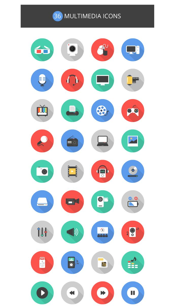 36 Multimedia Icons Set, #AI, #EPS, #Flat, #Free, #Graphic #Design, #Icon, #PNG, #PSD, #Resource, #Vector