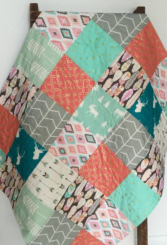 Baby Quilt, Girl, Blanket, Quilt, Moose, Arrow, Plucked, Feathers,  Woodland, Stag, Gold, Mint, Coral, Teal, Crib Bedding,Baby Bedding