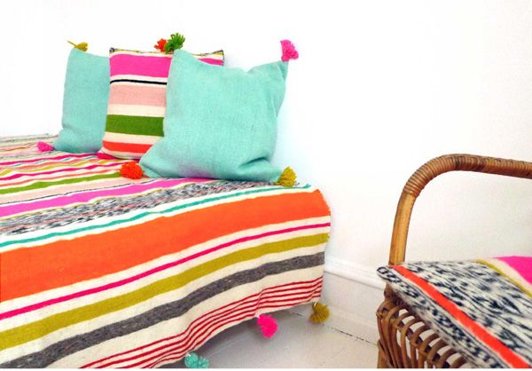 Spring Stripes, handwoven blankets, bedspreads & cushioncovers designed by kira-cph.com