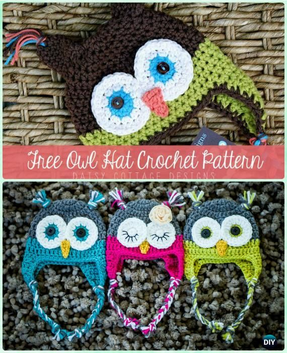 Crochet Owl Hat Free Pattern Instructions-DIY Crochet Ear Flap Hat Free Patterns
