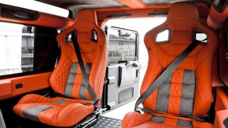 custom orange grey interior Land Rover Defender 90 Leather Interior including Front GTB Sports Seats Leather Interior by Chelsea Truck Company