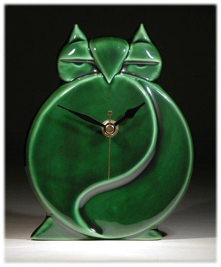 Art Deco British Art Pottery Green Owl Wall Clock