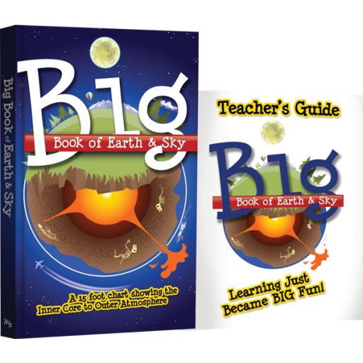 Homeschool, Science Curriculum, Education, Biblical Worldview. Big Book of Earth & Sky with Teacher's Guide. Let your child take an exciting, visual journey from Earth's core to the edge of the outer atmosphere! Explore the elements that make up the soil, the sea, and the sky. Examine detailed charts and graphs about the earth's crust, caves, and clouds. Scan facts and figures on weather, mountains, and more! The Big Book of Earth and Sky unfolds as a 15-foot chart or panel by panel.