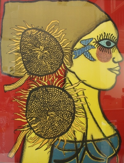 Corneille Woman with sunflowers.
