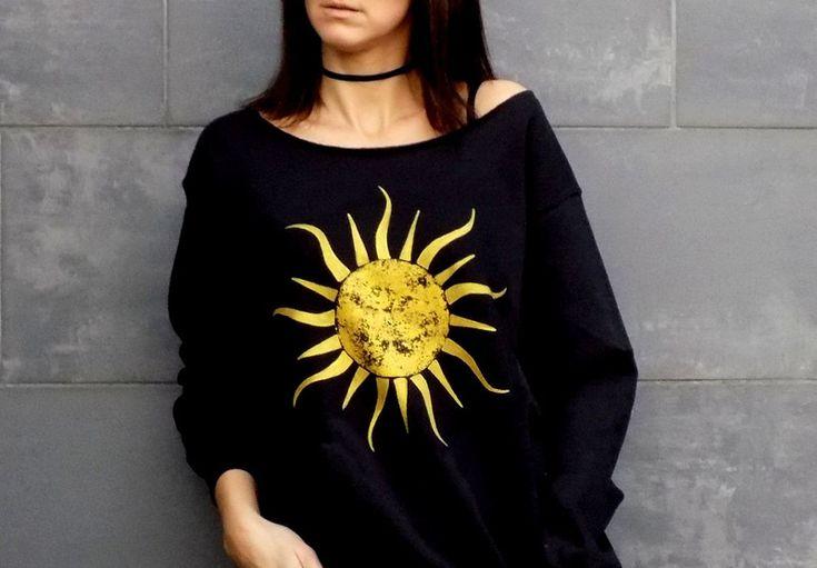 """LUŹNA bluza """"ZŁOTE SŁOŃCE"""" RĘCZNIE MALOWANA - AK-Creativo - Koszulki z długim rękawem"""