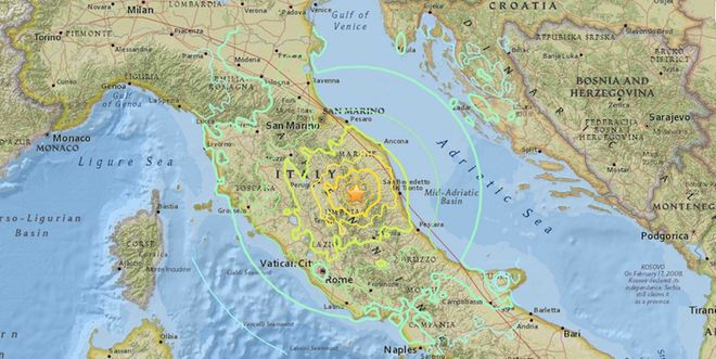 Two Strong Earthquakes Rattle Central Italy... A map of the epicenter of a magnitude-6.1 quake that struck near the town of Norcia, Italy on Oct. 26, 2016.
