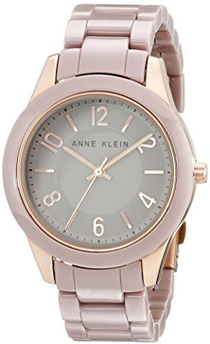 Anne Klein Women's AK/1962RGTP Rose Gold-Tone and Taupe Ceramic Bracelet Watch