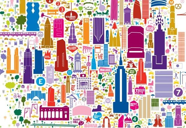 Iconic New York crams more than 400 local landmarks into one poster, including the Naked Cowboy and a vicious raccoon.