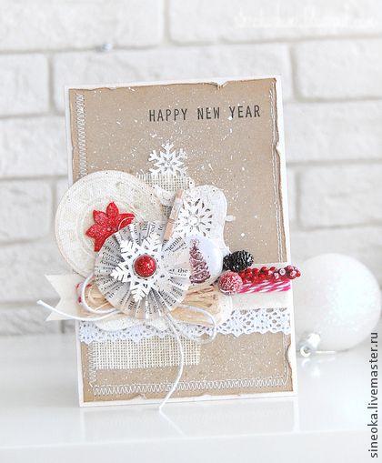 Открытка С Новым годом! - ярко-красный,красный,Открытка ручной работы