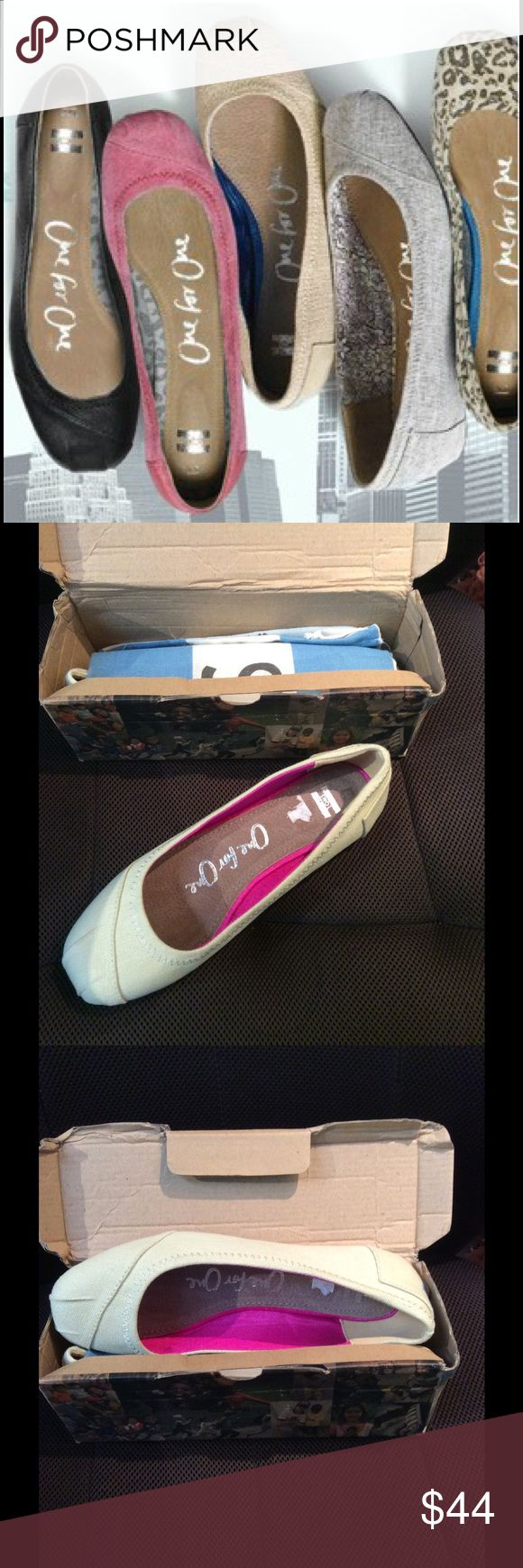 TOMS Cream Ballet Flats Cute shoes in mint condition! Never been worn. Comes with shoe dust bag. No stains, rips or scuffs. Box can be shipped as well upon request. Size 9 TOMS Shoes Flats & Loafers