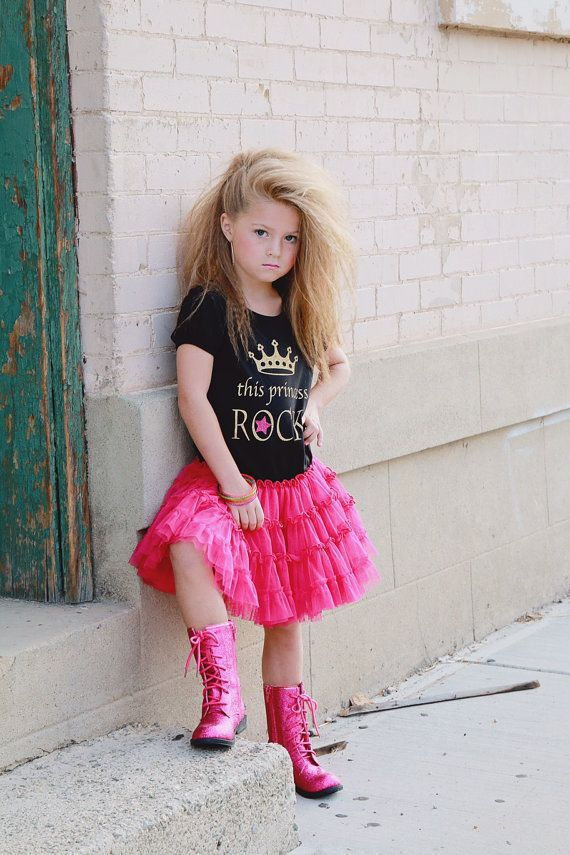 Rock Princess Tutu Dress Girls Pettidress Gold and Pink by madgrrl