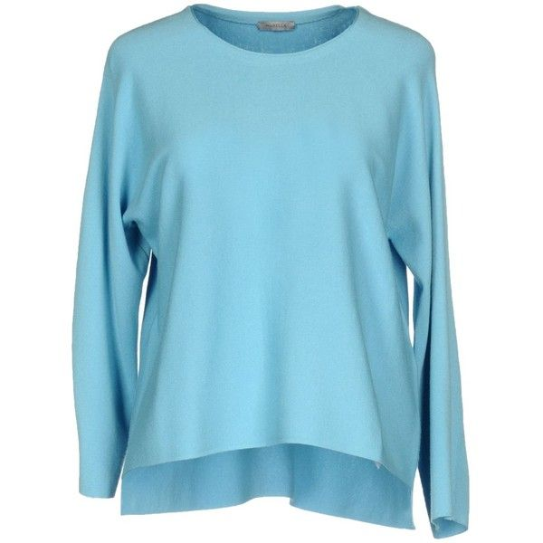 Marella Jumper (545 RON) ❤ liked on Polyvore featuring tops, sweaters, turquoise, lightweight sweaters, marella, blue jumper, long sleeve jumper and blue top