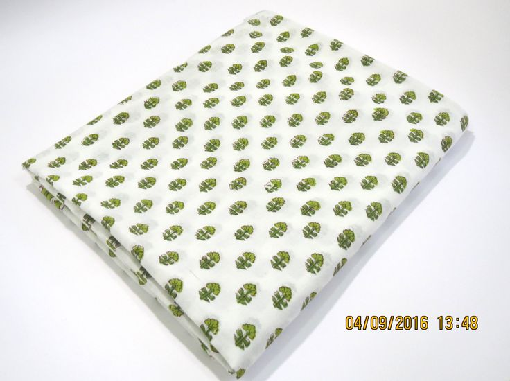 1 yard green tree pattern/leaf border India summer Cotton Fabric/Natural…