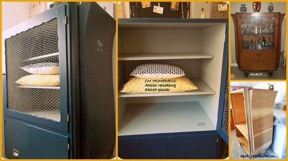 """buffet ART DECO restauré vaisselier bibliothèque armoire   """" VINTAGE  PETROL"""" en noyer  bleu petrol relooking cm homedeco"""
