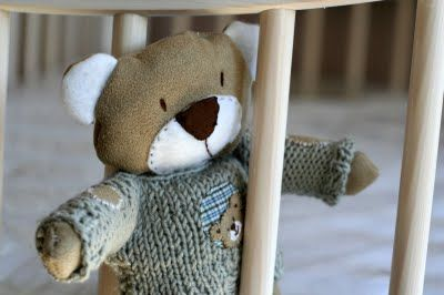 Little bear made from recycled second-hand materials and a little knitted sweater. Made for my son.