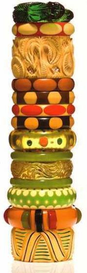 Some of the terrific vintage Bakelite bangles from the Susan Kleiner Freeman collection -- these and more were auctioned at Bonham's in Feb. 2012.