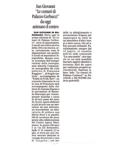 A.N.G.E.L.O.'s corporate mention on CORRIERE DI ROMAGNA 11.07.2013 P.12