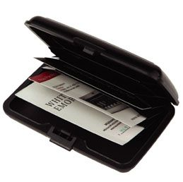 O289BK Aluminum body card holder Avoid wireless identity theft with this protective case Hold up to 30 cards within the five slots Secure locking mechanism Available in Black, Red and Blue