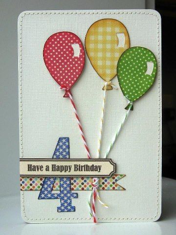 Cute & Colorful Child's Birthday Card...with balloons tied with string...Bean Talk: Free For All Friday.