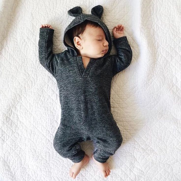 sleeping baby bear eared playsuit bodysuit romper dark romper baby boy romper baby girl romper.  gender neutral, unisex trendy outfit clothes for kids, toddler and baby. hipster and modern. fall summer spring winter