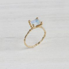 14K Yellow Gold Ring with White Moonstone by ShiriAvda on Etsy