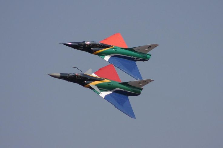 ☆ South African Air Force ✈ Atlas Cheetah C and Mirage IIIBZ in South African flag colors