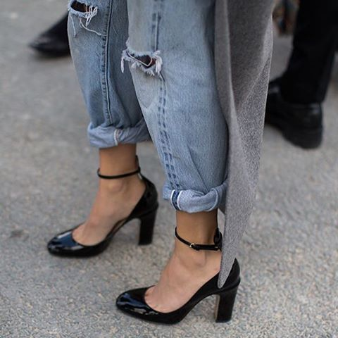 uh-la-la-land:  Today details - safe bet in a Mary Jane's and distressed denim @uhlalaland
