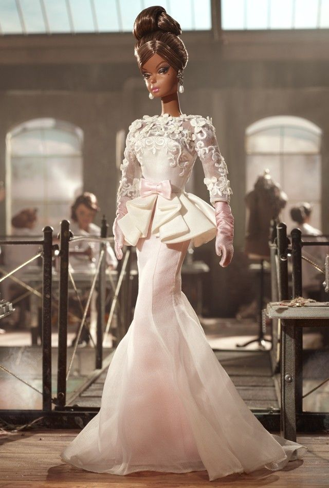 OMG! This Black Bridal Barbie!: Barbie Collector, Fashion Models, Evening Gowns, Fashion Dolls, Barbie Dolls, Gowns Barbie, Barbie Fashion, Silk Ribbons, White Tops