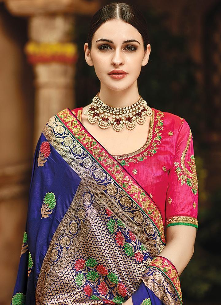 8deadbca949f76 Dark Blue and Hot Pink Embroidered Silk Saree - Lashkaraa | Blouse ...