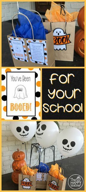 You've been Booed is such a fun Halloween tradition. We've been doing it with our neighbors for years, but it would be perfect for schools as well. Any classroom teacher can start the Boo-ing! Prepare a little goodie bag for another class in the school. Your students decide who they will BOO, and the class secretly delivers it! After you've been Booed, you put a sign on your classroom door, so everyone knows you've been Boo-ed!