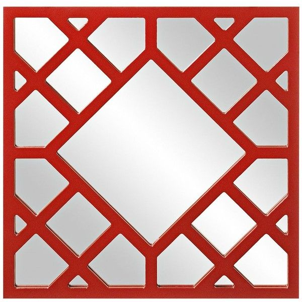 """Howard Elliott Anakin 24"""" High Red Lattice Wall Mirror ($100) ❤ liked on Polyvore featuring home, home decor, mirrors, red, red home decor, wall mirrors, wood mirror, wall mounted mirror and red mirror"""