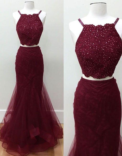 Burgundy two pieces lace long prom dress, burgundy lace evening dress for teens