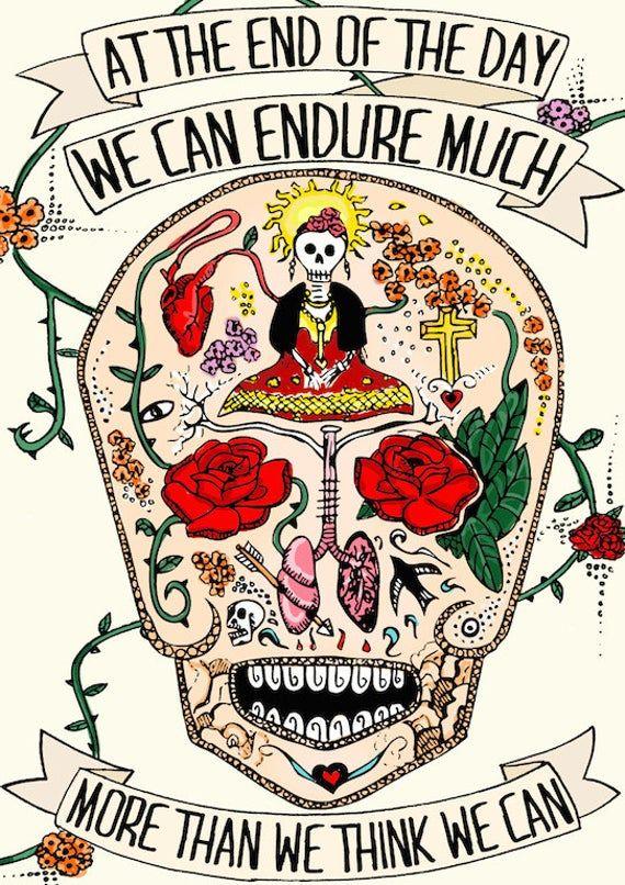 Frida kok, typografische, Limited Edition kleur, original illustratie Kunstdruck, inspirerende citaat, dag van de doden  – Living room