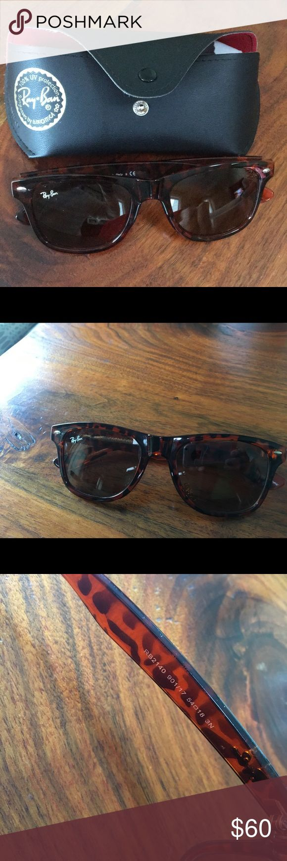 Ray ban wayfarer sunglasses. Tortoise ray bans only worn a couple of times- no visible scratches. Black case included. Ray-Ban Accessories Sunglasses
