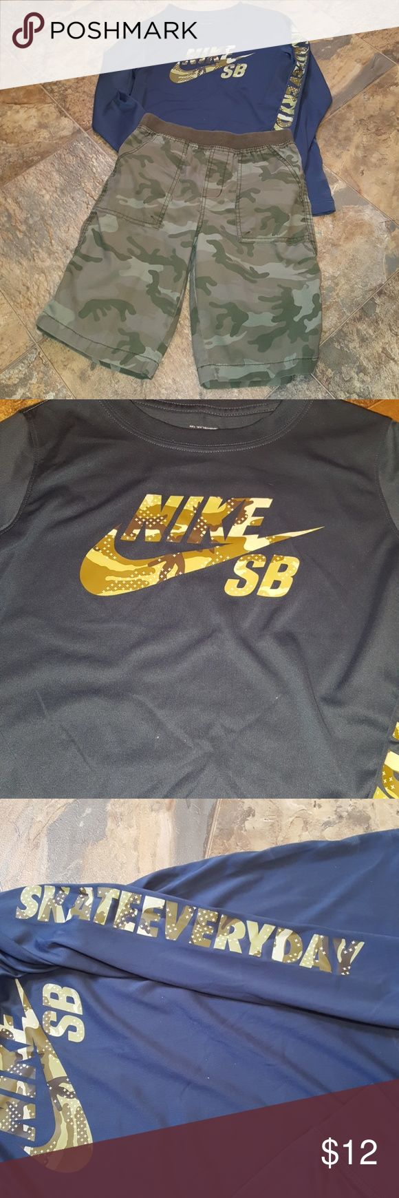 NIKE DRI-FIT TEE & CAMO SHORTS Nike long sleeve Dri-Fit tee and Camo pull on shorts with pockets MlMik V Nike Shirts & Tops Tees - Long Sleeve