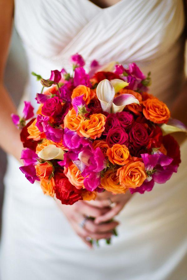 gorgeous red, pink, orange, and ivory bridal bouquet - photo by Washington DC based wedding photographers Holland Photo Arts
