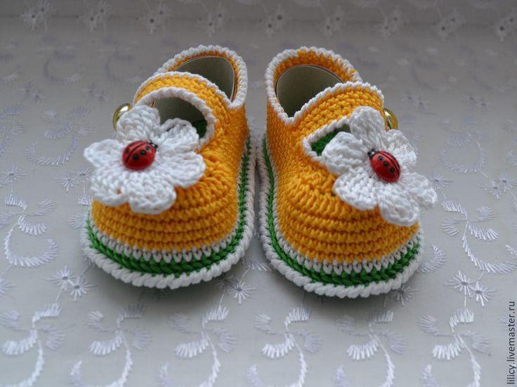 Пинетки-туфельки - рисунок,цветок,туфельки,пинетки,пинетки для новорожденных