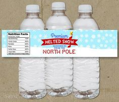 free Christmas printable water bottles | Melted Snow Christmas Holiday Party Water Bottle Labels - DIY- Instant ...