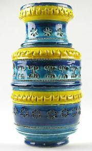 Yellow and Blue pottery vase made in Italy